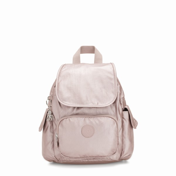 růžový mini batoh Kipling CITY PACK MINI METALLIC ROSE