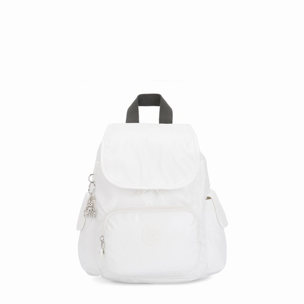 mini batoh do města Kipling CITY PACK MINI White Metallic bílý