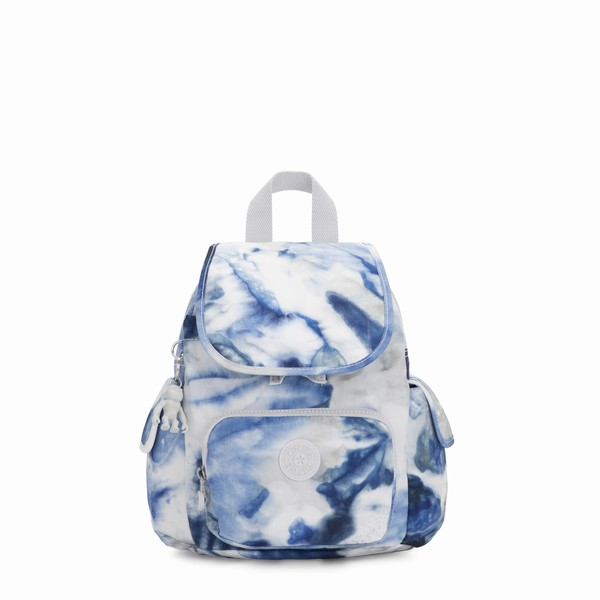 mini batoh do města Kipling CITY PACK MINI Tie Dye Blue modrobílá