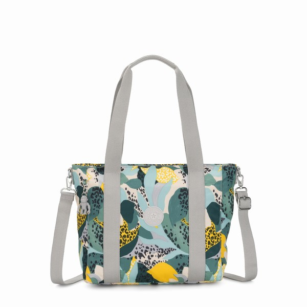 zelená kabelka shopper Kipling ASSENI S Urban Jungle